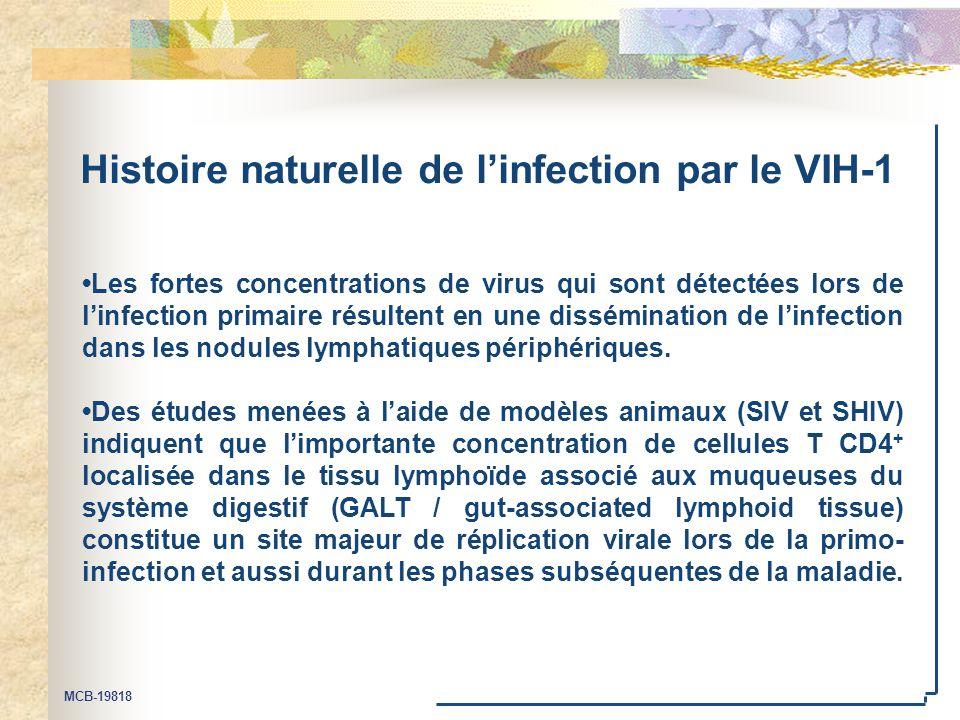 MCB-19818 Histoire naturelle de l'infection par le VIH-1 Les fortes concentrations de virus qui sont détectées lors de l'infection primaire résultent en une dissémination de l'infection dans les nodules lymphatiques périphériques.