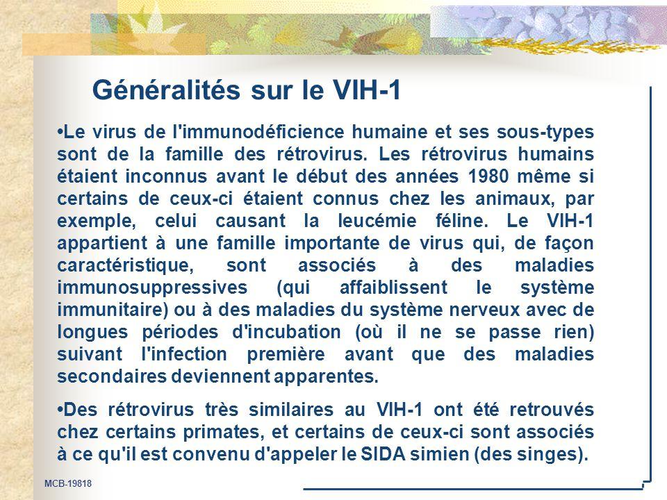 MCB-19818 Généralités sur le VIH-1 Le virus de l'immunodéficience humaine et ses sous-types sont de la famille des rétrovirus. Les rétrovirus humains