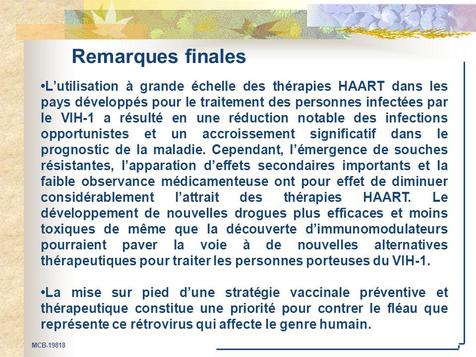 MCB-19818 Remarques finales L'utilisation à grande échelle des thérapies HAART dans les pays développés pour le traitement des personnes infectées par le VIH-1 a résulté en une réduction notable des infections opportunistes et un accroissement significatif dans le prognostic de la maladie.