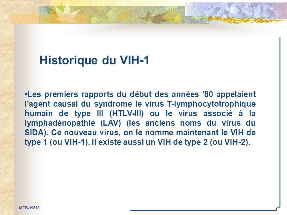MCB-19818 Historique du VIH-1 Les premiers rapports du début des années '80 appelaient l'agent causal du syndrome le virus T-lymphocytotrophique humai
