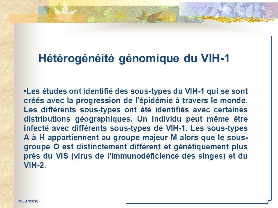 MCB-19818 Hétérogénéité génomique du VIH-1 Les études ont identifié des sous-types du VIH-1 qui se sont créés avec la progression de l épidémie à travers le monde.