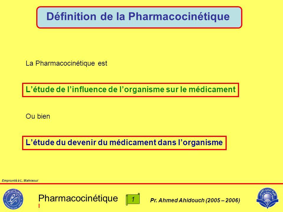 Pr. Ahmed Ahidouch (2005 – 2006) Définition de la Pharmacocinétique L'étude de l'influence de l'organisme sur le médicament Ou bien L'étude du devenir