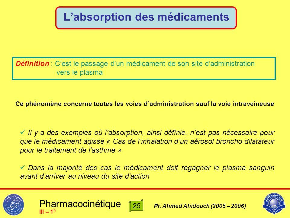 Pharmacocinétique Pr. Ahmed Ahidouch (2005 – 2006) L'absorption des médicaments 25 III – 1° Définition : C'est le passage d'un médicament de son site
