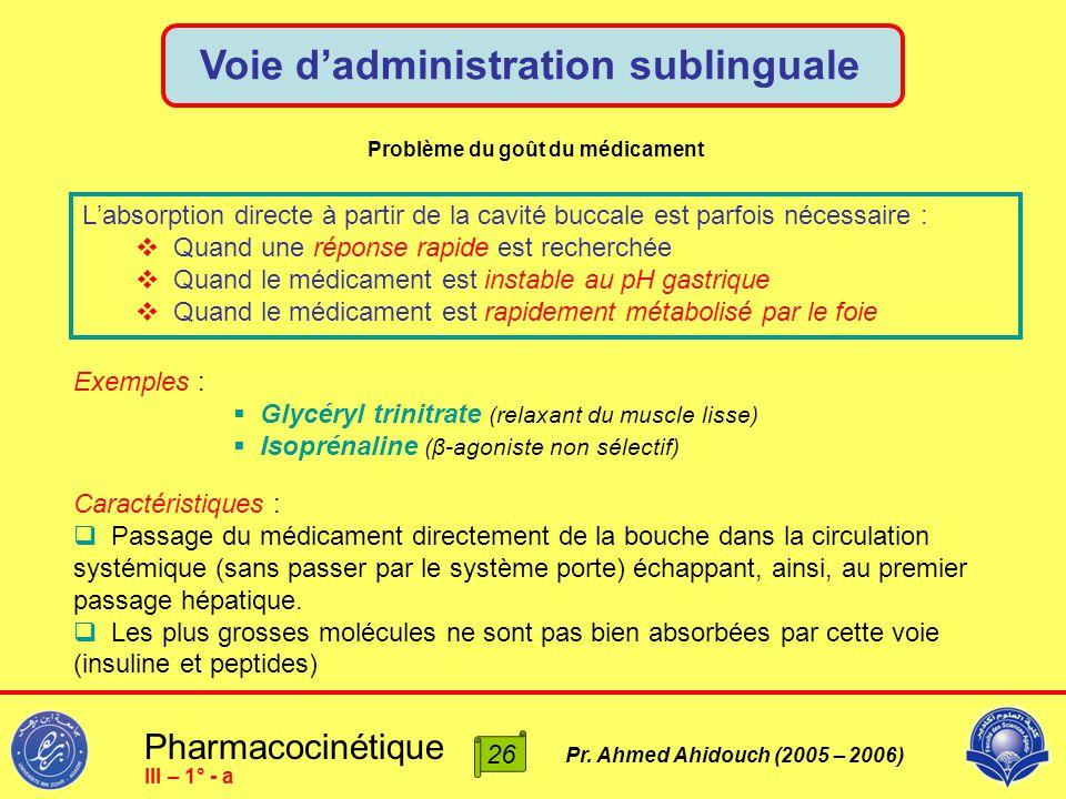 Pharmacocinétique Pr. Ahmed Ahidouch (2005 – 2006) Voie d'administration sublinguale 26 III – 1° - a L'absorption directe à partir de la cavité buccal