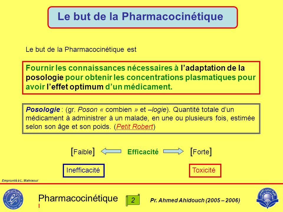 Pr. Ahmed Ahidouch (2005 – 2006) Le but de la Pharmacocinétique Fournir les connaissances nécessaires à l'adaptation de la posologie pour obtenir les