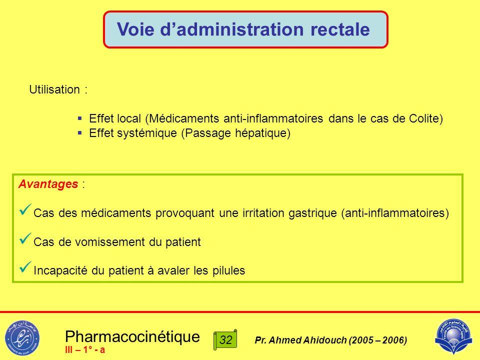 Pharmacocinétique Pr. Ahmed Ahidouch (2005 – 2006) Voie d'administration rectale 32 III – 1° - a Utilisation :  Effet local (Médicaments anti-inflamm