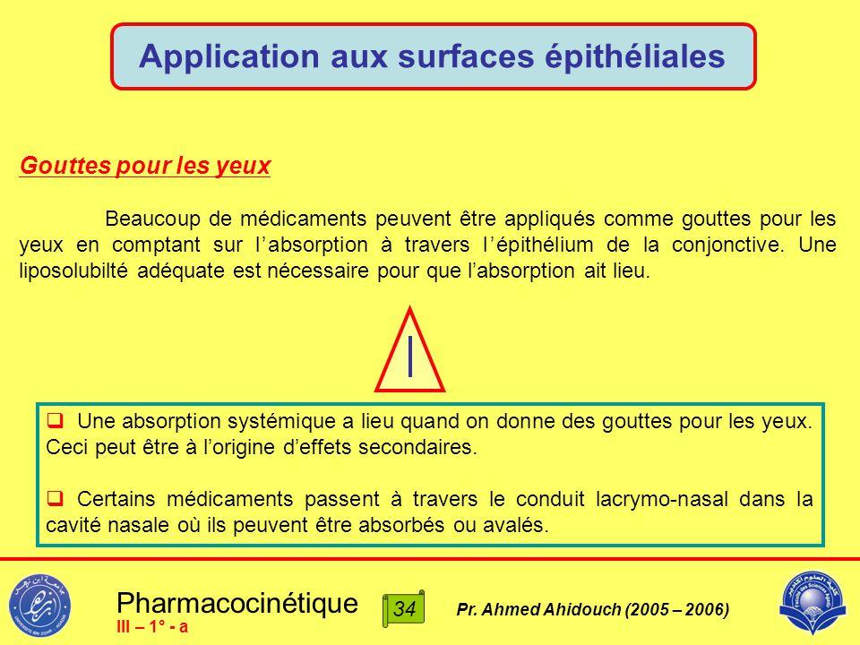 Pharmacocinétique Pr. Ahmed Ahidouch (2005 – 2006) Application aux surfaces épithéliales 34 III – 1° - a Gouttes pour les yeux Beaucoup de médicaments