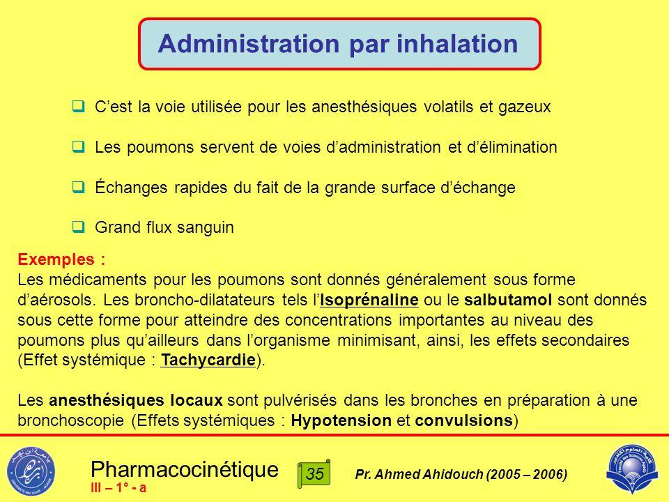 Pharmacocinétique Pr. Ahmed Ahidouch (2005 – 2006) Administration par inhalation 35 III – 1° - a  C'est la voie utilisée pour les anesthésiques volat