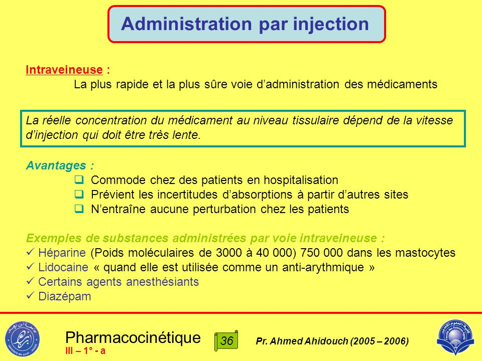 Pharmacocinétique Pr. Ahmed Ahidouch (2005 – 2006) Administration par injection 36 III – 1° - a Intraveineuse : La plus rapide et la plus sûre voie d'
