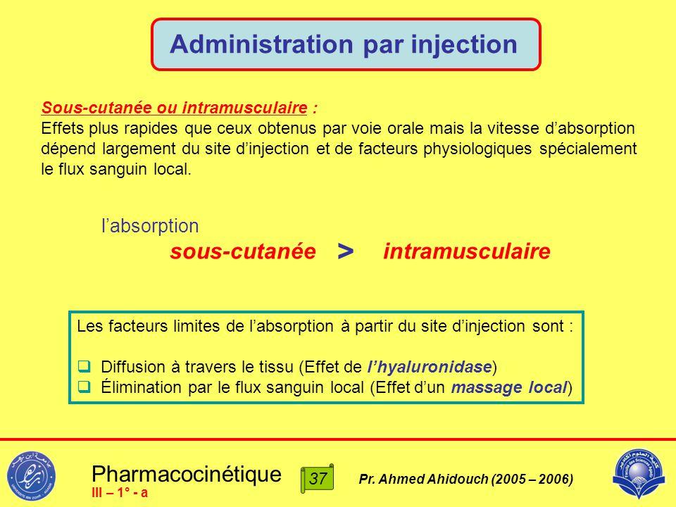 Pharmacocinétique Pr. Ahmed Ahidouch (2005 – 2006) Administration par injection 37 III – 1° - a Sous-cutanée ou intramusculaire : Effets plus rapides