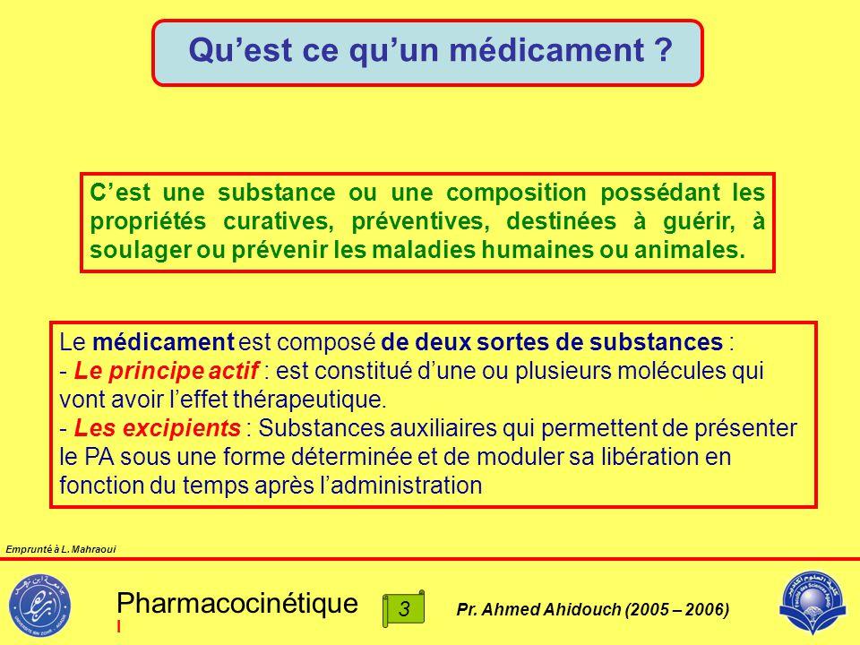 Pr. Ahmed Ahidouch (2005 – 2006) Qu'est ce qu'un médicament ? C'est une substance ou une composition possédant les propriétés curatives, préventives,