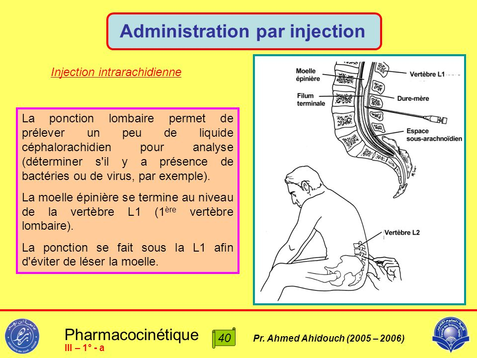Pharmacocinétique Pr. Ahmed Ahidouch (2005 – 2006) Administration par injection 40 III – 1° - a La ponction lombaire permet de prélever un peu de liqu