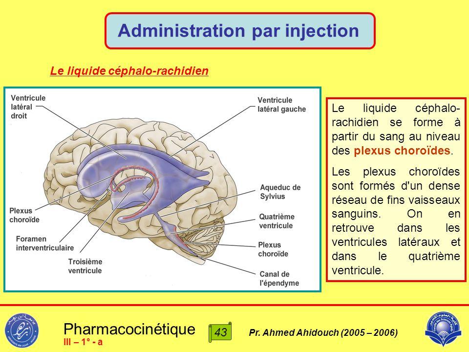 Pharmacocinétique Pr. Ahmed Ahidouch (2005 – 2006) Administration par injection 43 III – 1° - a Le liquide céphalo-rachidien Le liquide céphalo- rachi
