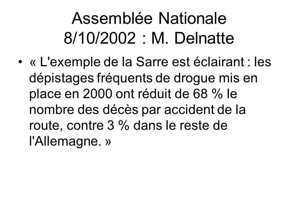 Assemblée Nationale 8/10/2002 : M. Delnatte « L'exemple de la Sarre est éclairant : les dépistages fréquents de drogue mis en place en 2000 ont réduit