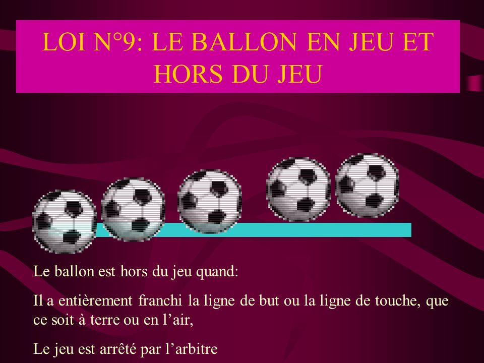 LOI N°9: LE BALLON EN JEU ET HORS DU JEU Le ballon est hors du jeu quand: Il a entièrement franchi la ligne de but ou la ligne de touche, que ce soit
