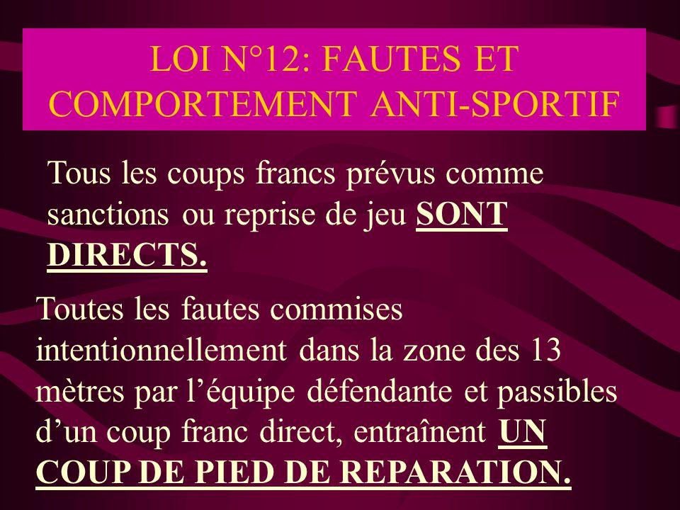 LOI N°12: FAUTES ET COMPORTEMENT ANTI-SPORTIF Tous les coups francs prévus comme sanctions ou reprise de jeu SONT DIRECTS. Toutes les fautes commises
