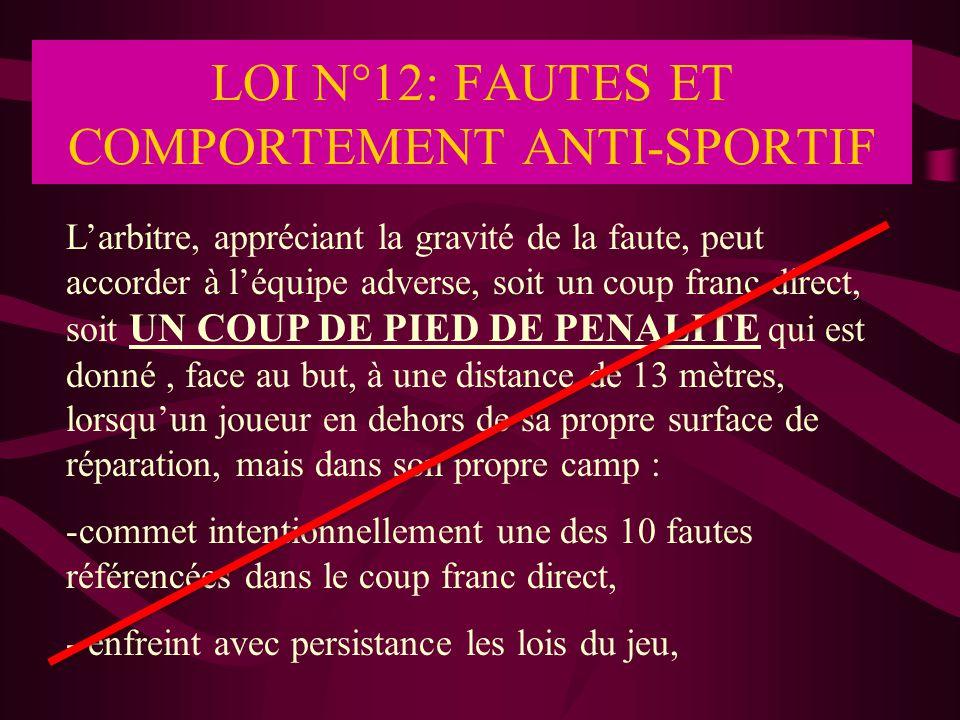 LOI N°12: FAUTES ET COMPORTEMENT ANTI-SPORTIF L'arbitre, appréciant la gravité de la faute, peut accorder à l'équipe adverse, soit un coup franc direc