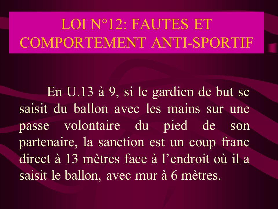 LOI N°12: FAUTES ET COMPORTEMENT ANTI-SPORTIF En U.13 à 9, si le gardien de but se saisit du ballon avec les mains sur une passe volontaire du pied de
