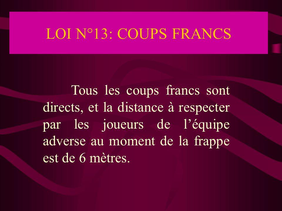 LOI N°13: COUPS FRANCS Tous les coups francs sont directs, et la distance à respecter par les joueurs de l'équipe adverse au moment de la frappe est d