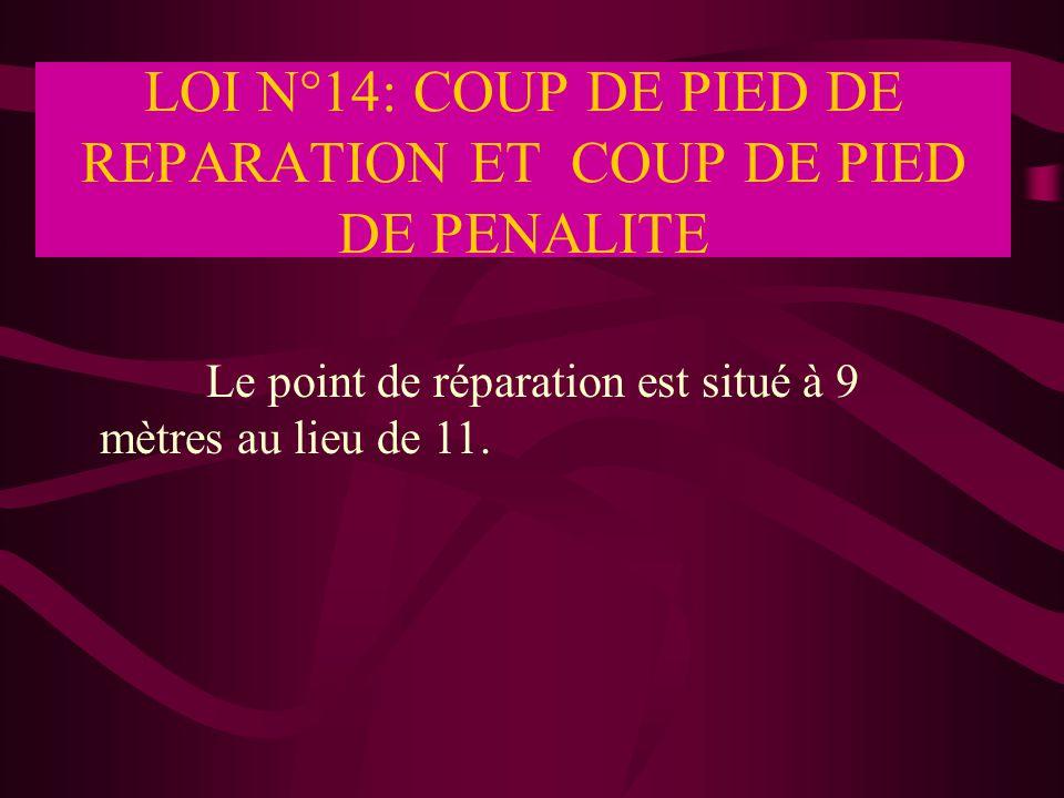 LOI N°14: COUP DE PIED DE REPARATION ET COUP DE PIED DE PENALITE Le point de réparation est situé à 9 mètres au lieu de 11.