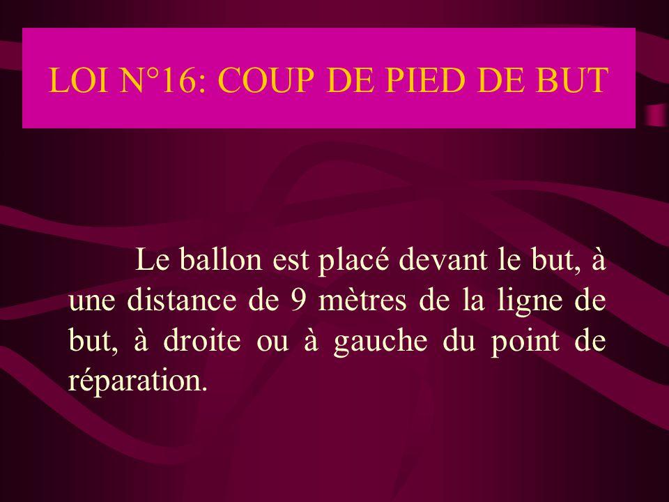 LOI N°16: COUP DE PIED DE BUT Le ballon est placé devant le but, à une distance de 9 mètres de la ligne de but, à droite ou à gauche du point de répar