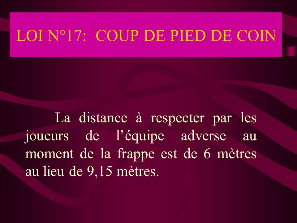 LOI N°17: COUP DE PIED DE COIN La distance à respecter par les joueurs de l'équipe adverse au moment de la frappe est de 6 mètres au lieu de 9,15 mètr