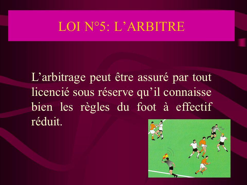 LOI N°6: ARBITRES ASSISTANTS L'arbitrage peut être assuré par tout licencié sous réserve qu'il connaisse bien les règles du foot à effectif réduit.