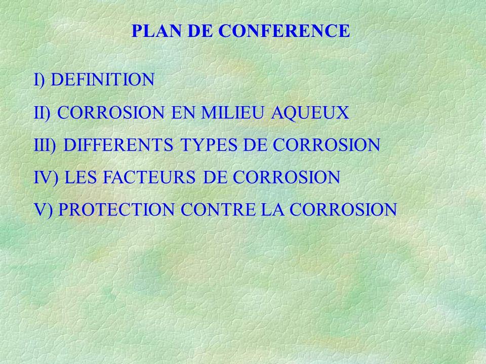 PLAN DE CONFERENCE I) DEFINITION II) CORROSION EN MILIEU AQUEUX III) DIFFERENTS TYPES DE CORROSION IV) LES FACTEURS DE CORROSION V) PROTECTION CONTRE