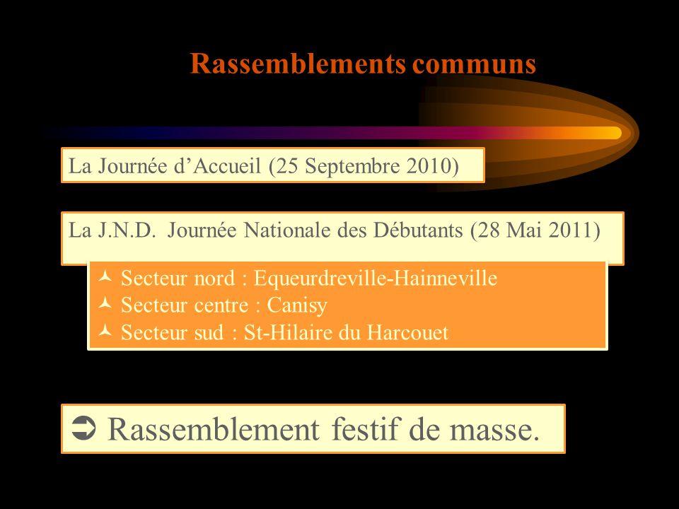 LES SECTEURS A chaque secteur son fonctionnement Calendrier annuel avec 12 rassemblements (« plateau »)  Une période automnale (septembre à novembre)