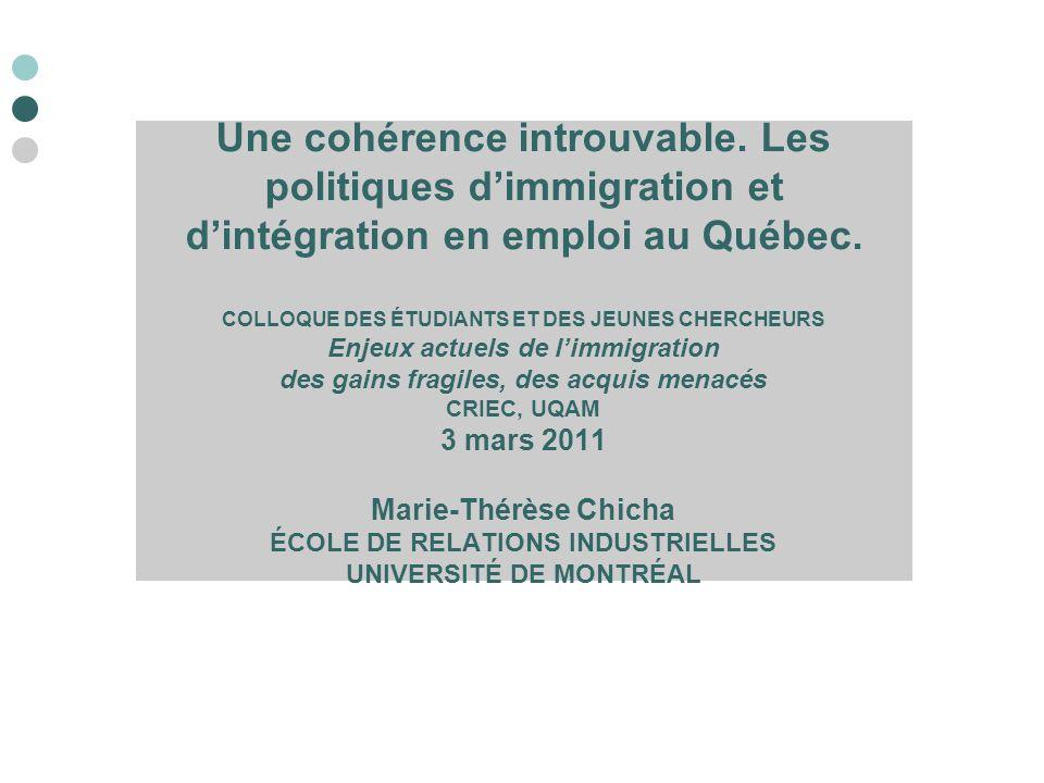 Une cohérence introuvable. Les politiques d'immigration et d'intégration en emploi au Québec. COLLOQUE DES ÉTUDIANTS ET DES JEUNES CHERCHEURS Enjeux a