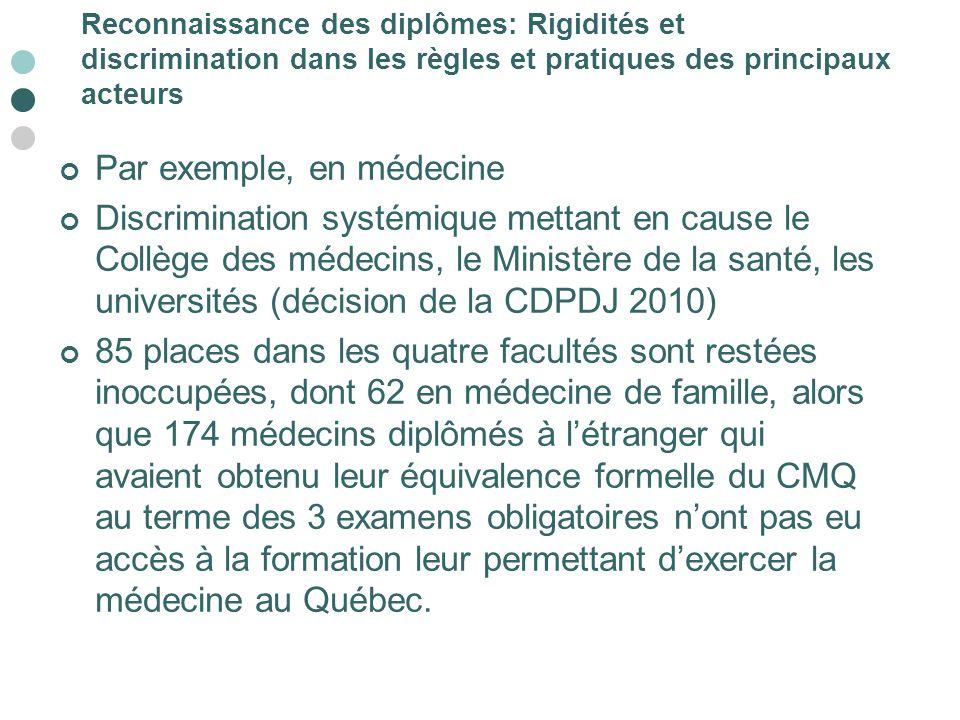 Par exemple, en médecine Discrimination systémique mettant en cause le Collège des médecins, le Ministère de la santé, les universités (décision de la