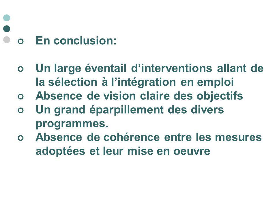 En conclusion: Un large éventail d'interventions allant de la sélection à l'intégration en emploi Absence de vision claire des objectifs Un grand épar