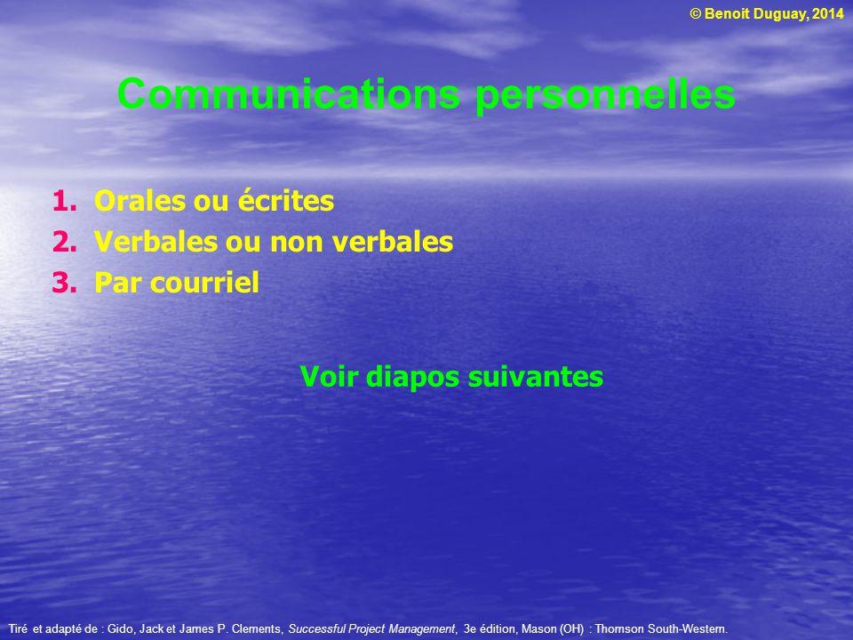 © Benoit Duguay, 2014 Types de rapports de projet 1.Rapport de progression 2.Rapport final Tiré et adapté de : Gido, Jack et James P.