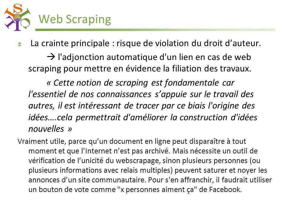Web Scraping  La crainte principale : risque de violation du droit d'auteur.