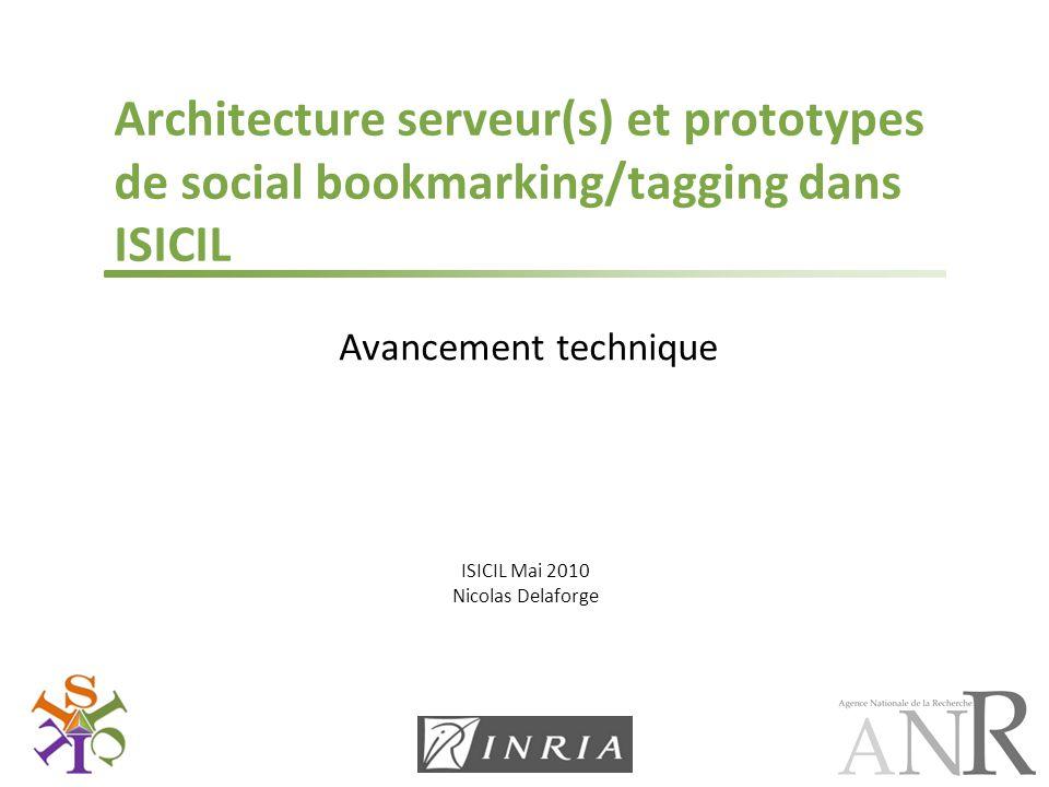 ISICIL Mai 2010 Nicolas Delaforge Architecture serveur(s) et prototypes de social bookmarking/tagging dans ISICIL Avancement technique
