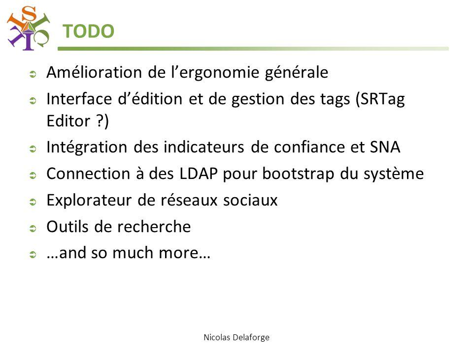 TODO  Amélioration de l'ergonomie générale  Interface d'édition et de gestion des tags (SRTag Editor )  Intégration des indicateurs de confiance et SNA  Connection à des LDAP pour bootstrap du système  Explorateur de réseaux sociaux  Outils de recherche  …and so much more… Nicolas Delaforge