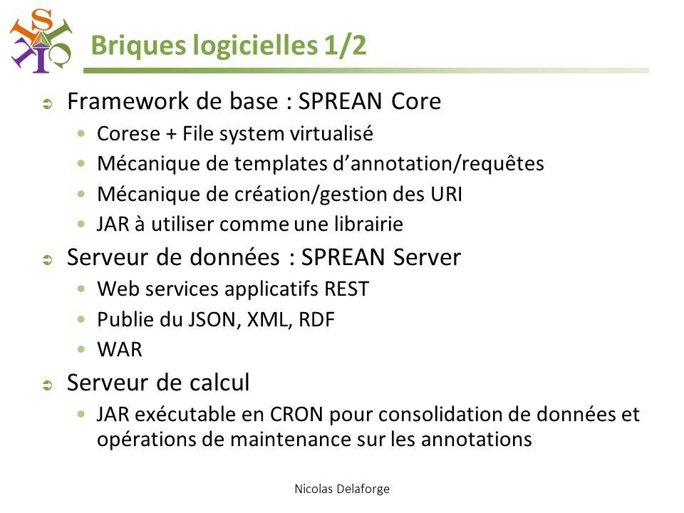 Briques logicielles 1/2  Framework de base : SPREAN Core Corese + File system virtualisé Mécanique de templates d'annotation/requêtes Mécanique de création/gestion des URI JAR à utiliser comme une librairie  Serveur de données : SPREAN Server Web services applicatifs REST Publie du JSON, XML, RDF WAR  Serveur de calcul JAR exécutable en CRON pour consolidation de données et opérations de maintenance sur les annotations Nicolas Delaforge