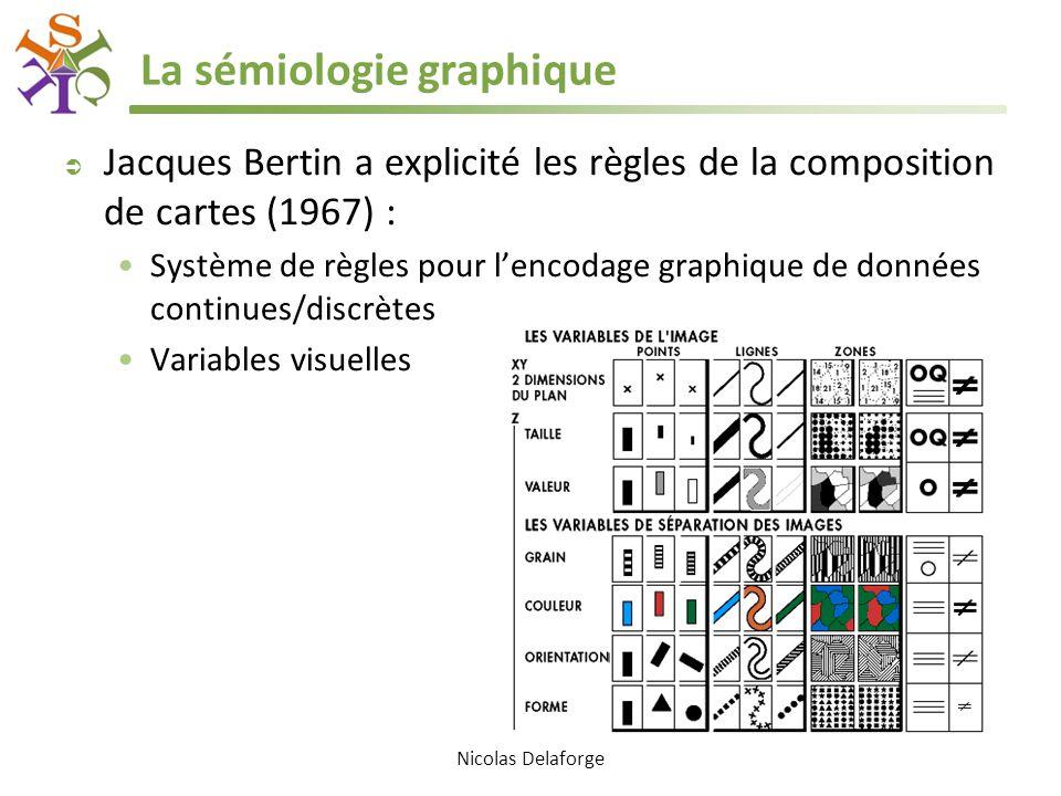Nicolas Delaforge La sémiologie graphique  Jacques Bertin a explicité les règles de la composition de cartes (1967) : Système de règles pour l'encoda