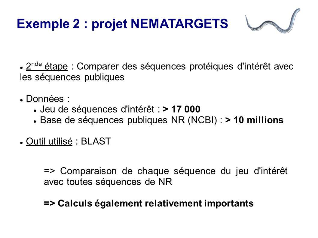 Exemple 2 : projet NEMATARGETS => Comparaison de chaque séquence du jeu d intérêt avec toutes séquences de NR => Calculs également relativement importants 2 nde étape : Comparer des séquences protéiques d intérêt avec les séquences publiques Données : Jeu de séquences d intérêt : > 17 000 Base de séquences publiques NR (NCBI) : > 10 millions Outil utilisé : BLAST