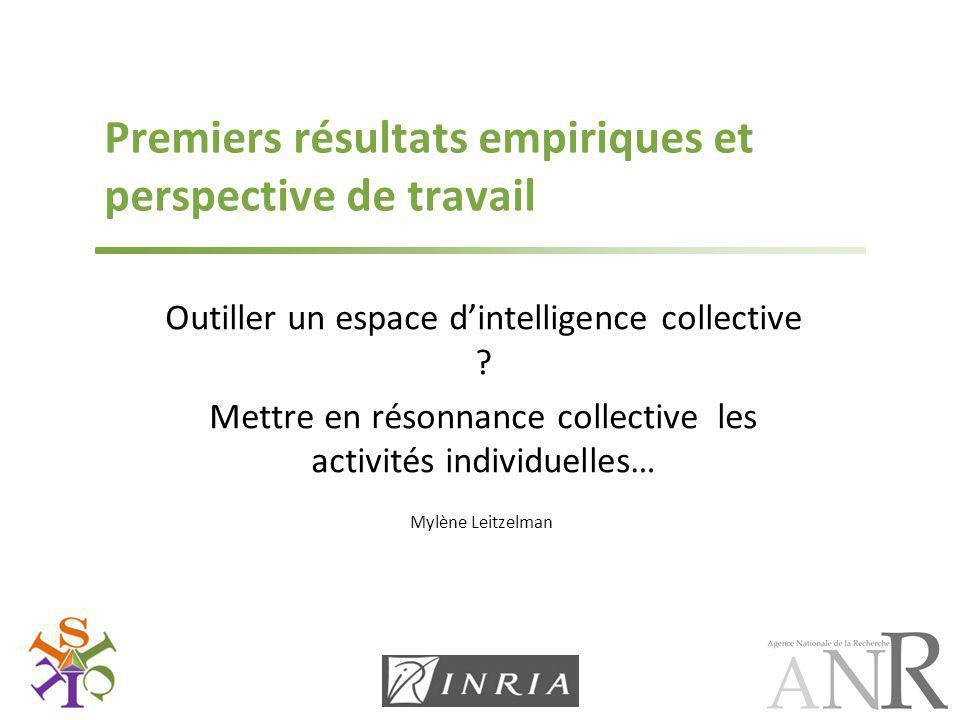 Mylène Leitzelman Premiers résultats empiriques et perspective de travail Outiller un espace d'intelligence collective ? Mettre en résonnance collecti