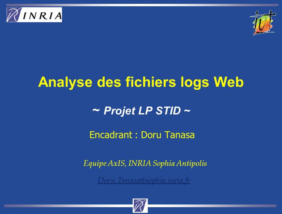 Analyse des fichiers log des sites INRIA siège et sophia Base de Données 673.389 requêtesentre le 1 janvier et le 15 janvier 2003.