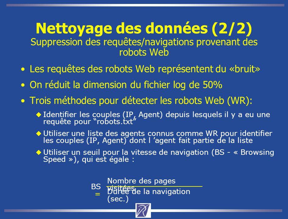 Nettoyage des données (2/2) Suppression des requêtes/navigations provenant des robots Web Les requêtes des robots Web représentent du «bruit» On réduit la dimension du fichier log de 50% Trois méthodes pour détecter les robots Web (WR): Identifier les couples (IP, Agent) depuis lesquels il y a eu une requête pour robots.txt Utiliser une liste des agents connus comme WR pour identifier les couples (IP, Agent) dont l 'agent fait partie de la liste Utiliser un seuil pour la vitesse de navigation (BS - « Browsing Speed »), qui est égale : BS = Durée de la navigation (sec.) Nombre des pages visitées