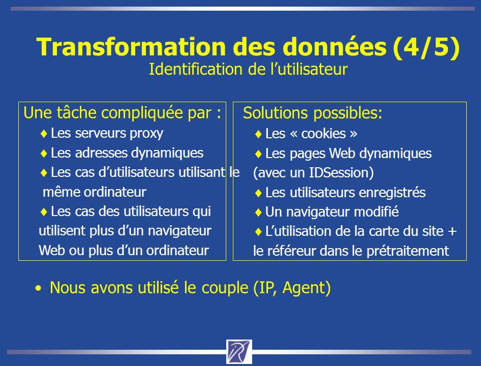 Transformation des données (4/5) Identification de l'utilisateur Nous avons utilisé le couple (IP, Agent) Une tâche compliquée par :  Les serveurs pr
