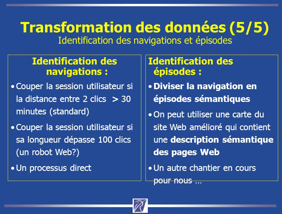 Transformation des données (5/5) Identification des navigations et épisodes Identification des navigations : Couper la session utilisateur si la dista
