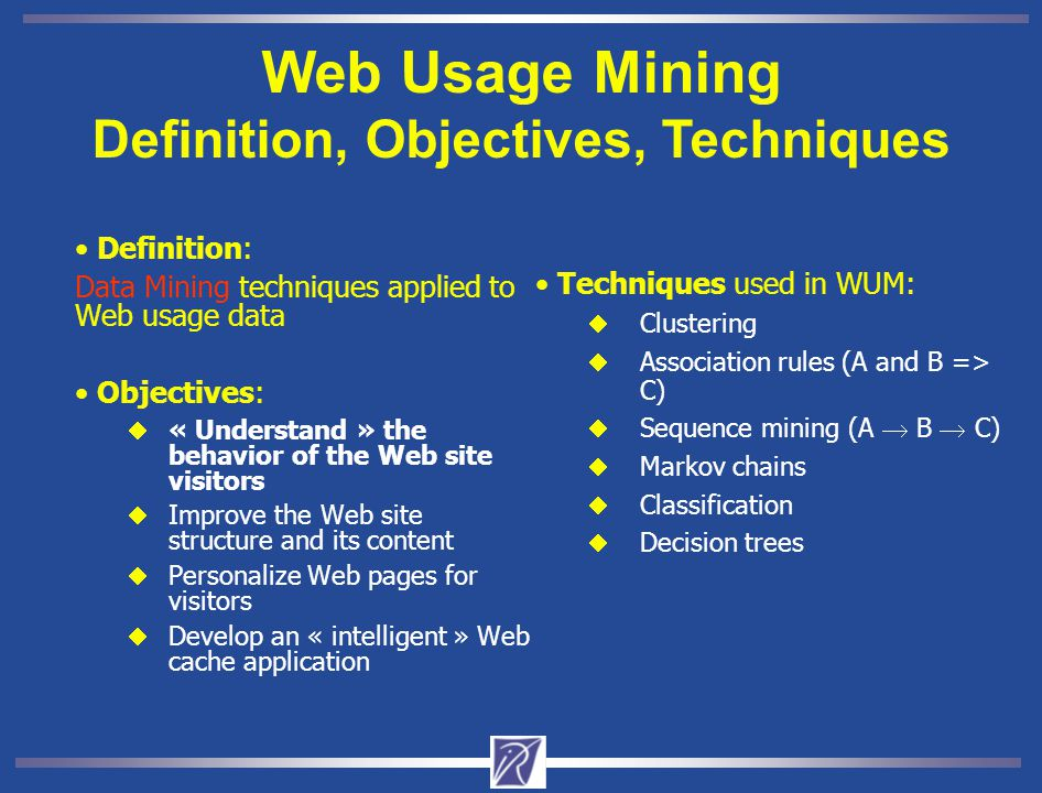 Web Usage Mining A KDD process  A three-step Knowledge Discovery in Databases (KDD) process from Web Usage data  Can use other types of data such as: Web site structure and user profiles