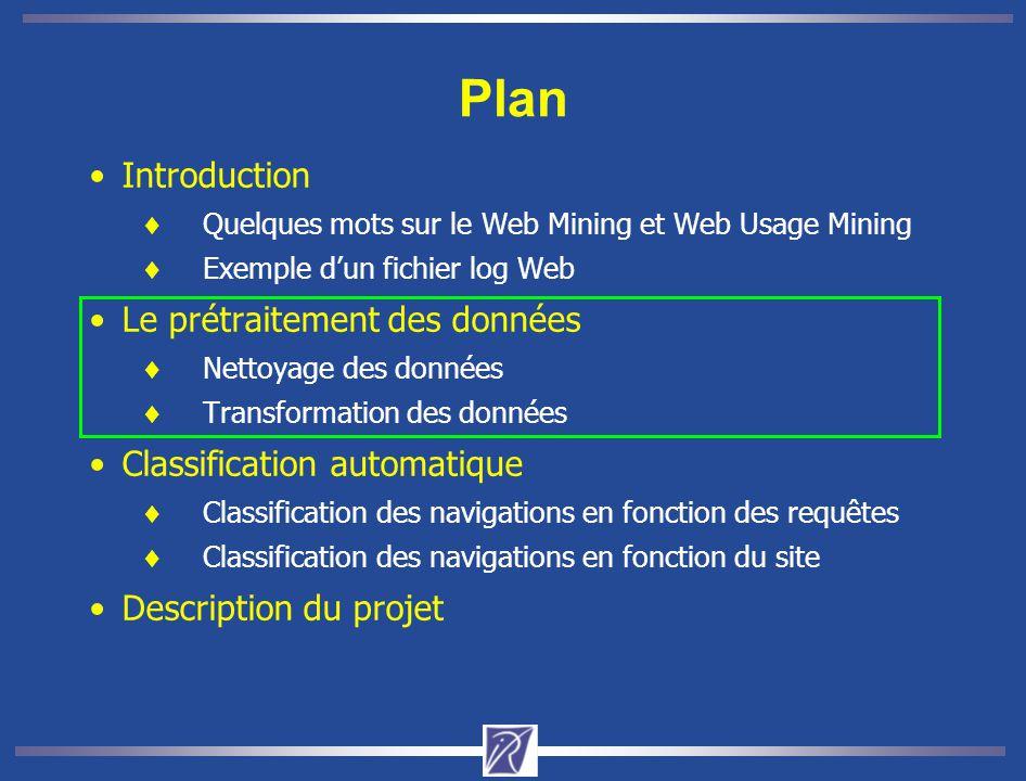 Plan Introduction  Quelques mots sur le Web Mining et Web Usage Mining  Exemple d'un fichier log Web Le prétraitement des données  Nettoyage des données  Transformation des données Classification automatique  Classification des navigations en fonction des requêtes  Classification des navigations en fonction du site Description du projet