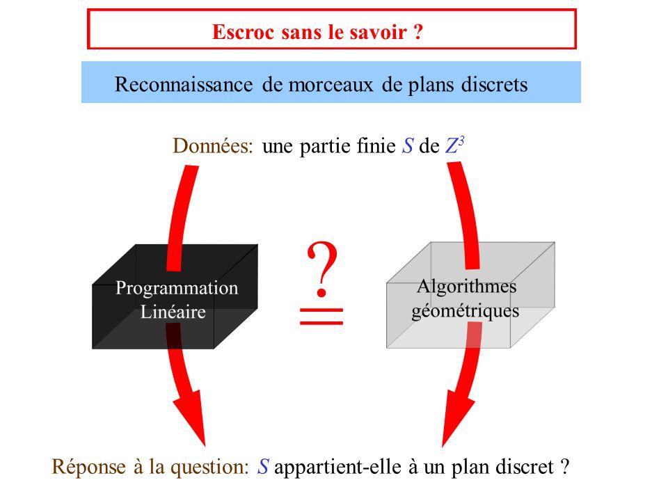 Escroc sans le savoir ? Reconnaissance de morceaux de plans discrets Données: une partie finie S de Z 3 Réponse à la question: S appartient-elle à un