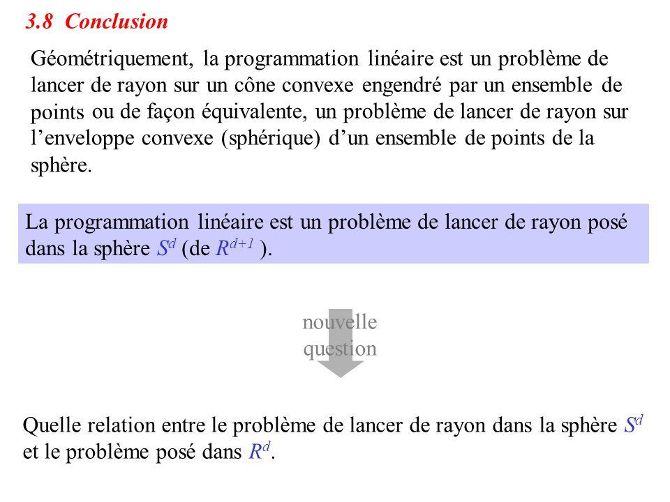 3.8 Conclusion Géométriquement, la programmation linéaire est un problème de lancer de rayon sur un cône convexe engendré par un ensemble de points ou