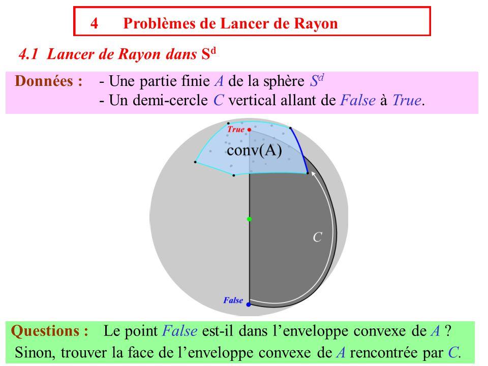 4 Problèmes de Lancer de Rayon 4.1 Lancer de Rayon dans S d Données :- Une partie finie A de la sphère S d - Un demi-cercle C vertical allant de False