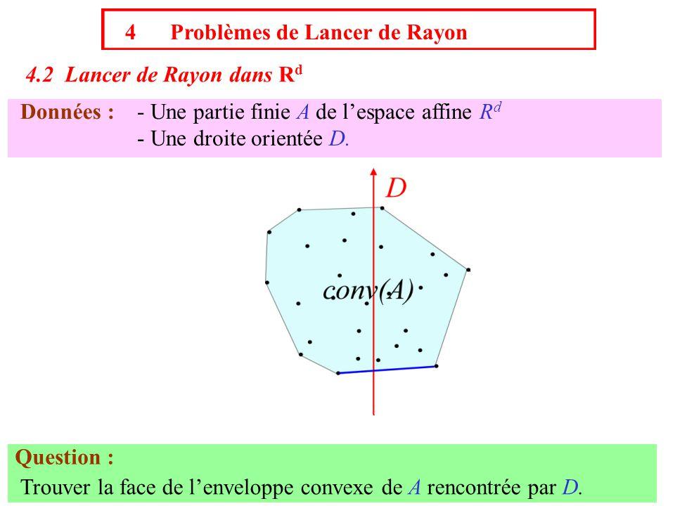 4 Problèmes de Lancer de Rayon 4.2 Lancer de Rayon dans R d Données :- Une partie finie A de l'espace affine R d - Une droite orientée D. Question : T
